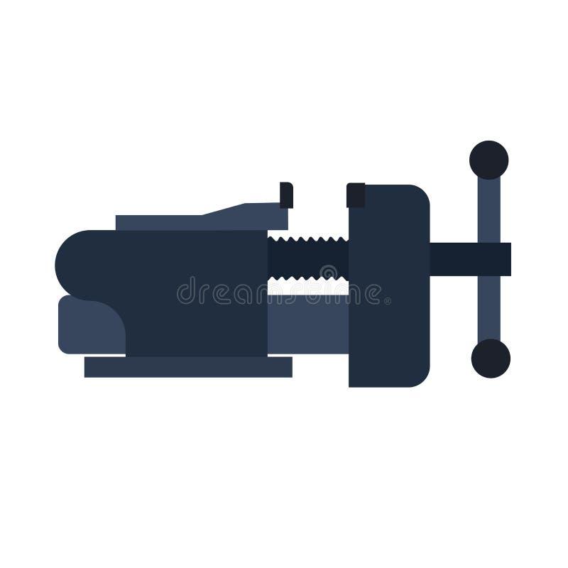 Vise clamp vector icon illustration symbol. Metal tool equipment industry. Iron rivet fix carpentry adjustable pressure design vector illustration