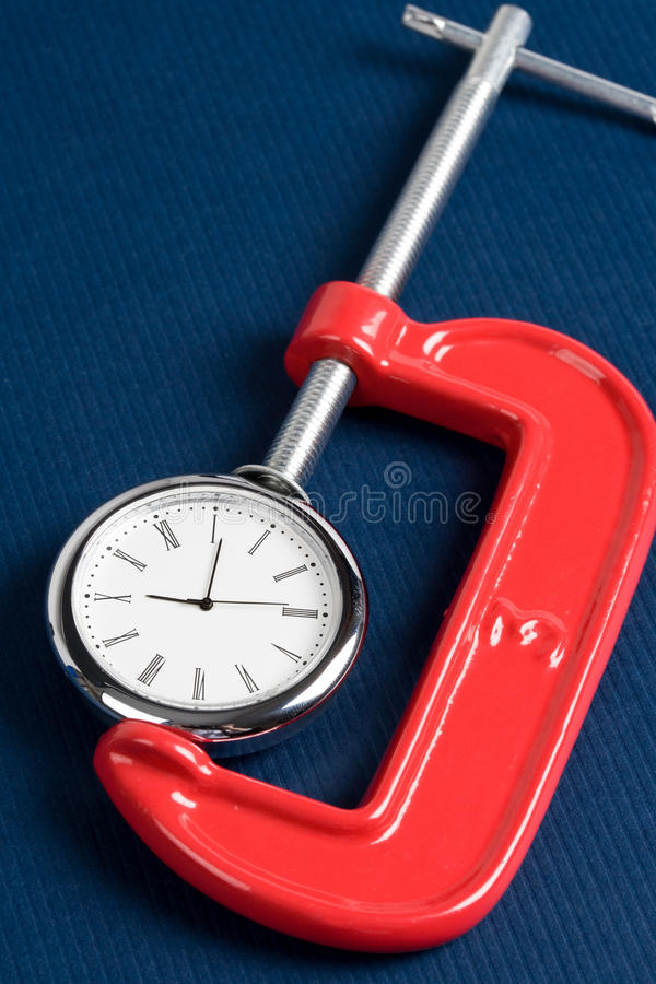 Vise Grip And Clock Stock Image