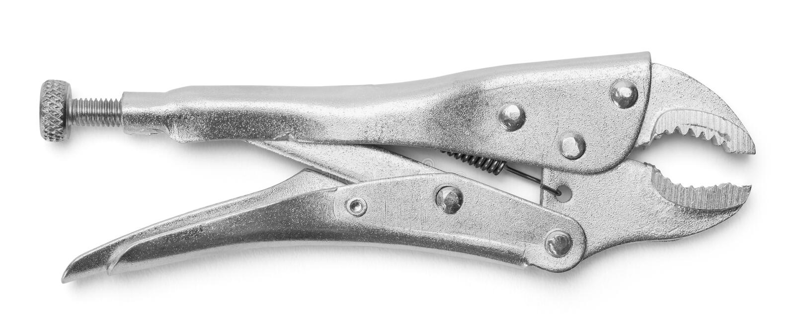 Pliers. Vise Grips Locking Pliers Isolated on a White Background royalty free stock images
