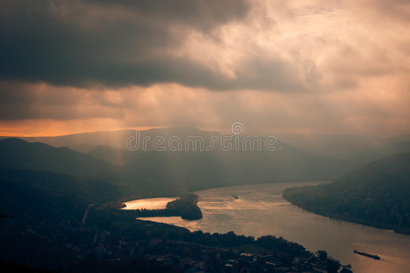 Visegrad Hungary, Danube sunset river. City of Visegrad, where the Danube turns royalty free stock photos