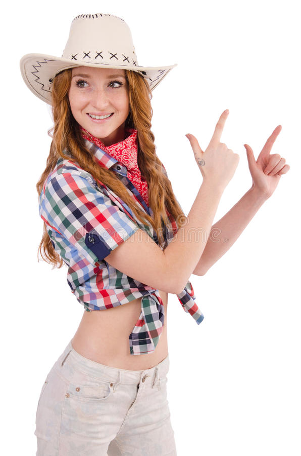 Viser la cow-girl rousse photo libre de droits