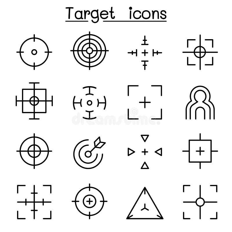 Visez et visez l'icône réglée dans la ligne style mince illustration de vecteur