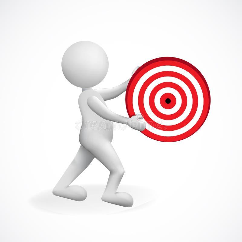 Visez les affaires et le vecteur de logo d'icône de l'homme 3d blanc illustration stock