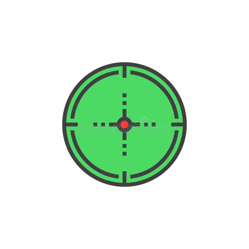 Visez, ligne de cible icône, signe rempli de vecteur d'ensemble, colorf linéaire illustration libre de droits