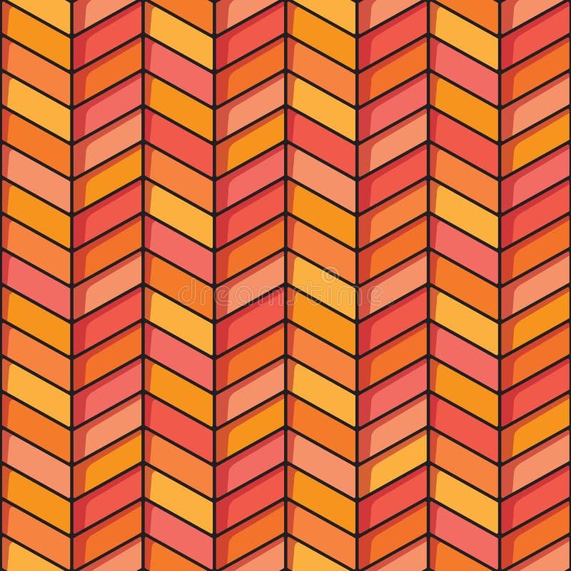 Visgraat naadloze achtergrond in oranje en roze tonen royalty-vrije stock foto's