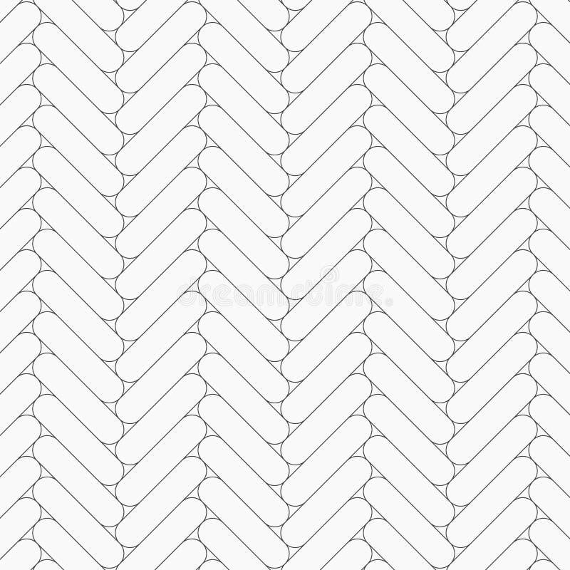 Visgraatpatroon Rechthoeken rond gemaakte tessellation van hoekplakken Naadloos oppervlakteontwerp met het witte hellingsblokken  vector illustratie