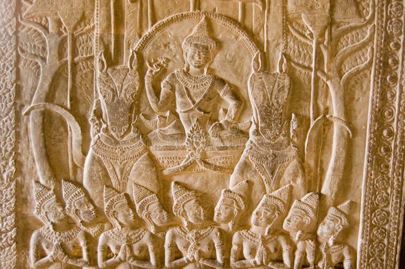 Vishnu auf dem Chariot gezogen durch Pferde lizenzfreie stockbilder