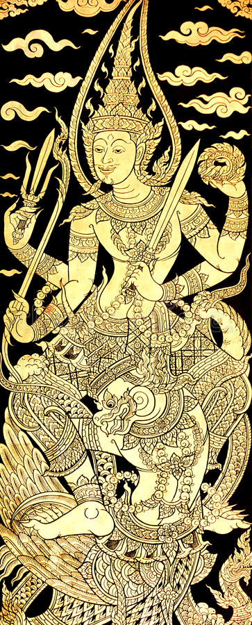Vishnu en Garuda, pintura tailandesa tradicional del estilo en el templo hace imagen de archivo libre de regalías