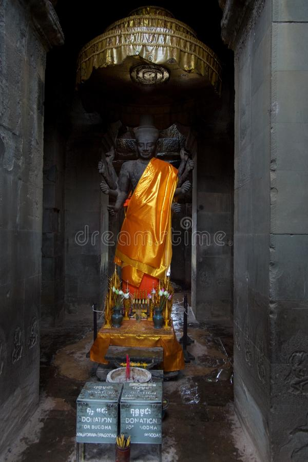 The Vishnu god statue in Angkor Wat, Siem Reap, Cambodia, Southeast Asia stock images