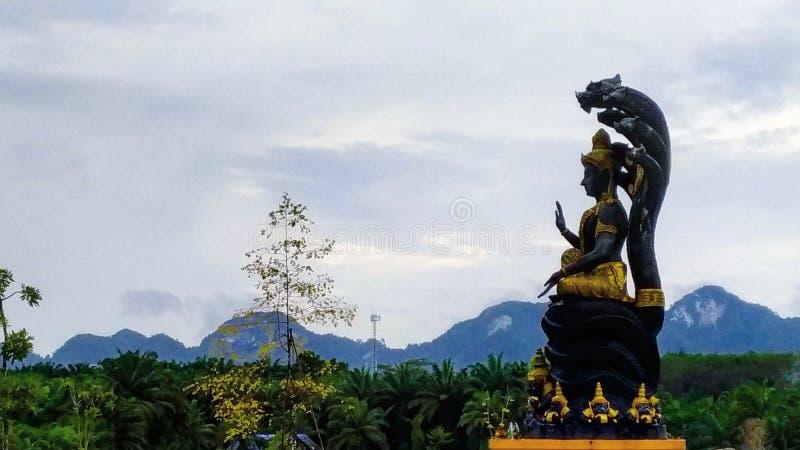Vishnu with Naka over head statue & x28;hindu godd& x29; in a temple southern thailand royalty free stock photo