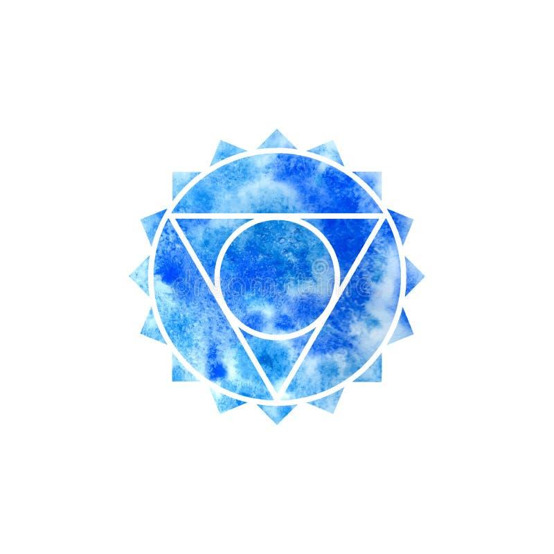 Vishuddha查克拉 神圣的几何 其中一个在人体的能源中心 供瑜伽使用打算的设计的对象 向量例证