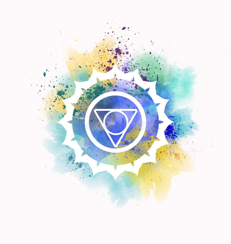 Vishuddha chakra. Symbol colorful illustration vector illustration