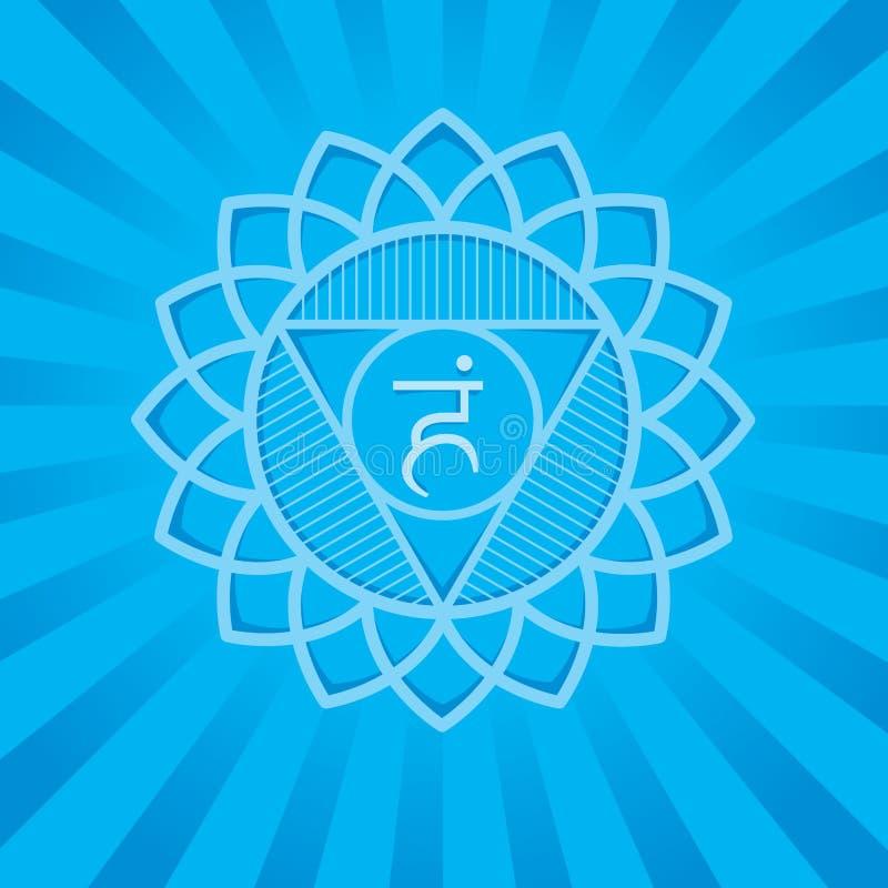 Vishuddha - chakrasymbol av människokroppen Använt i Hinduism, Ayurveda, yoga royaltyfri illustrationer