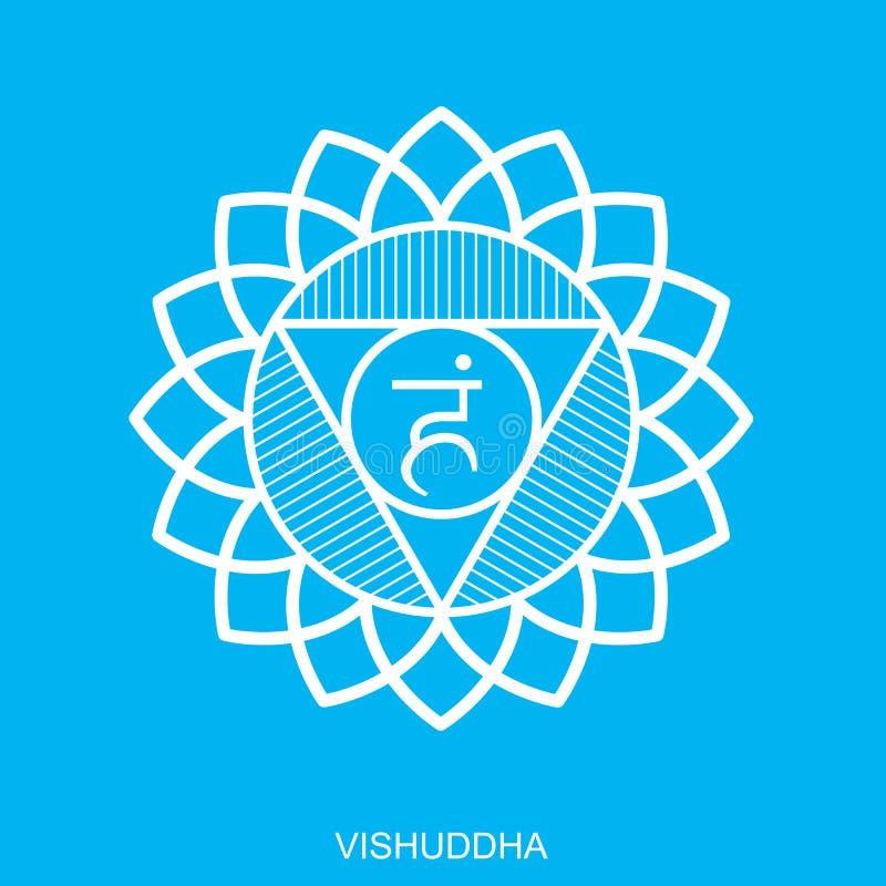 Vishuddha Plan illustration för Chakra fyrkant - för yogastudio Symbol av energimitten av människokroppen som används i Hinduism, vektor illustrationer