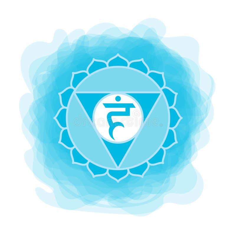 Vishuddha symbol Den femte gutturala chakraen Blå rökig cirkel för vektor Linje symbol Sacral tecken meditation vektor illustrationer
