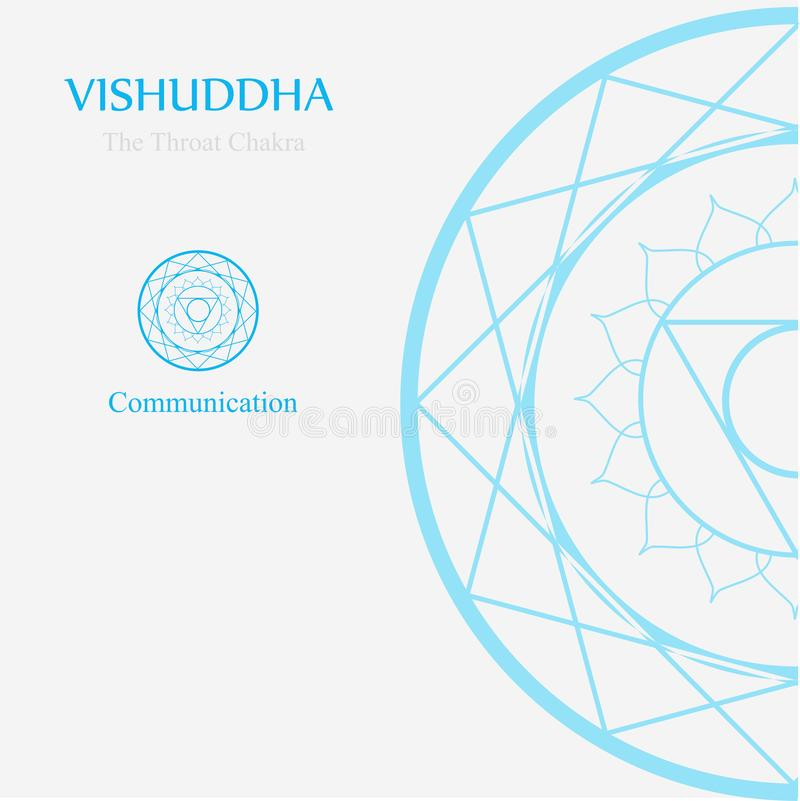 Vishuddha- The throat chakra which stands for communication. The word vishuddha means purity and purification vector illustration