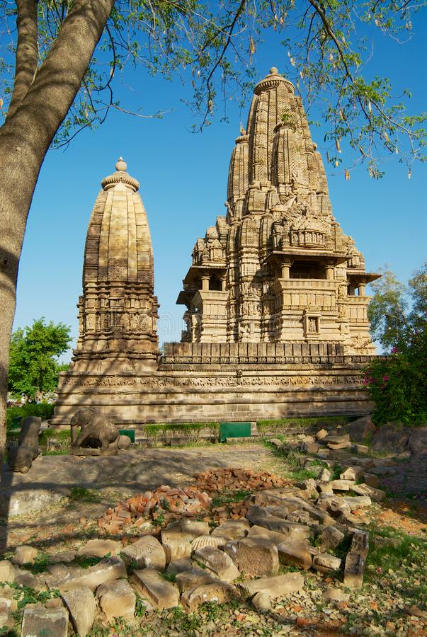 Vishvanatha Temple with erotic sculptures at the Western temples of Khajuraho in Madhya Pradesh, India. royalty free stock photography