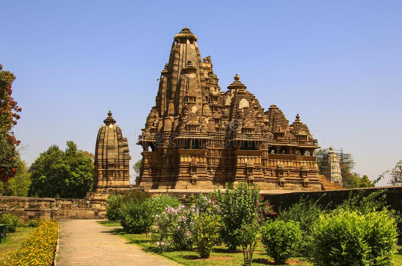 Vishwanatha寺庙 克久拉霍西部寺庙 印度 免版税库存照片