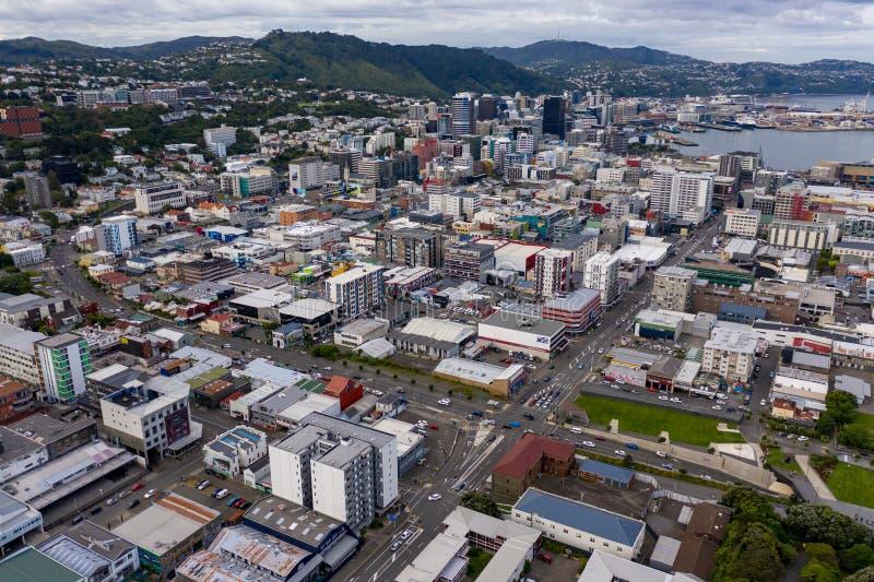 Visión aérea amplia, Wellington New Zealand imagenes de archivo