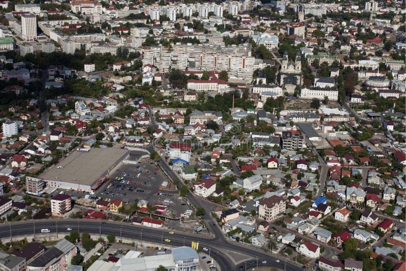 Visión aérea con infraestructura urbana imagen de archivo