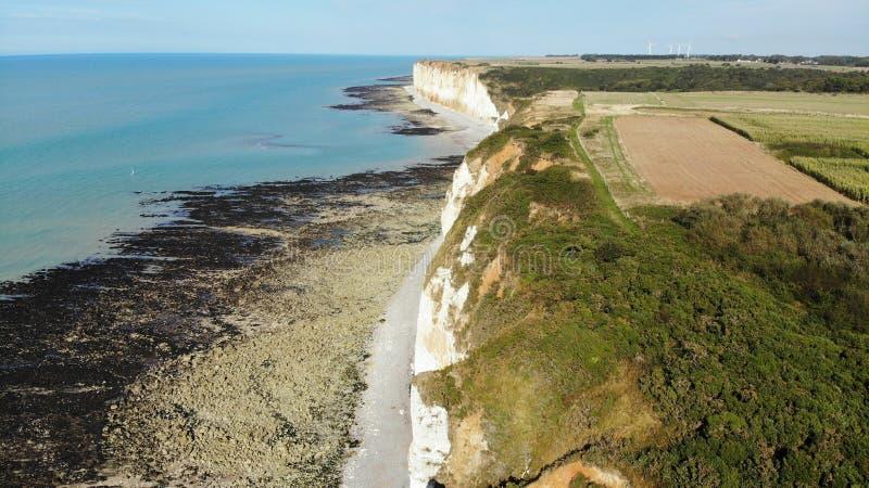Visión aérea, costa y beatch, Francia de Normandía foto de archivo libre de regalías
