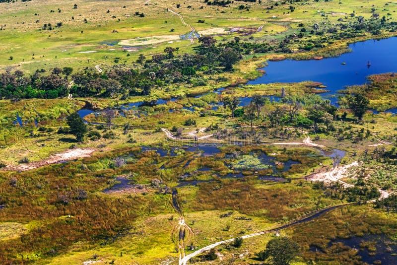 Visión aérea en el delta de Okavango imagen de archivo libre de regalías