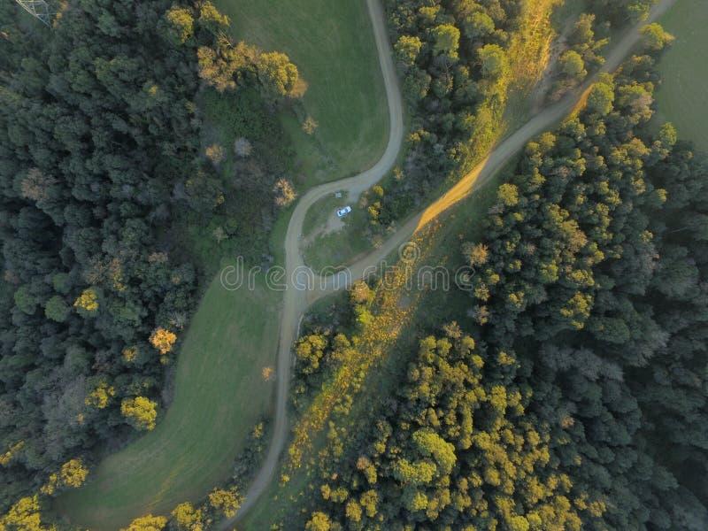 Visión aérea en la montaña foto de archivo