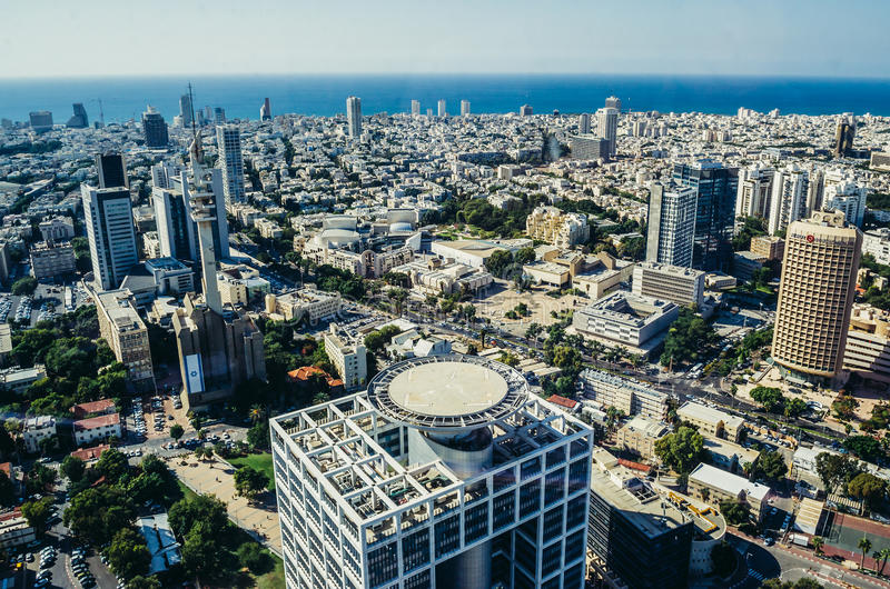 Visión aérea en Tel Aviv imagen de archivo libre de regalías