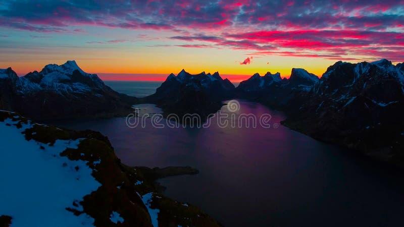 Visión aérea, islas de Lofoten, Reine, Noruega fotografía de archivo libre de regalías
