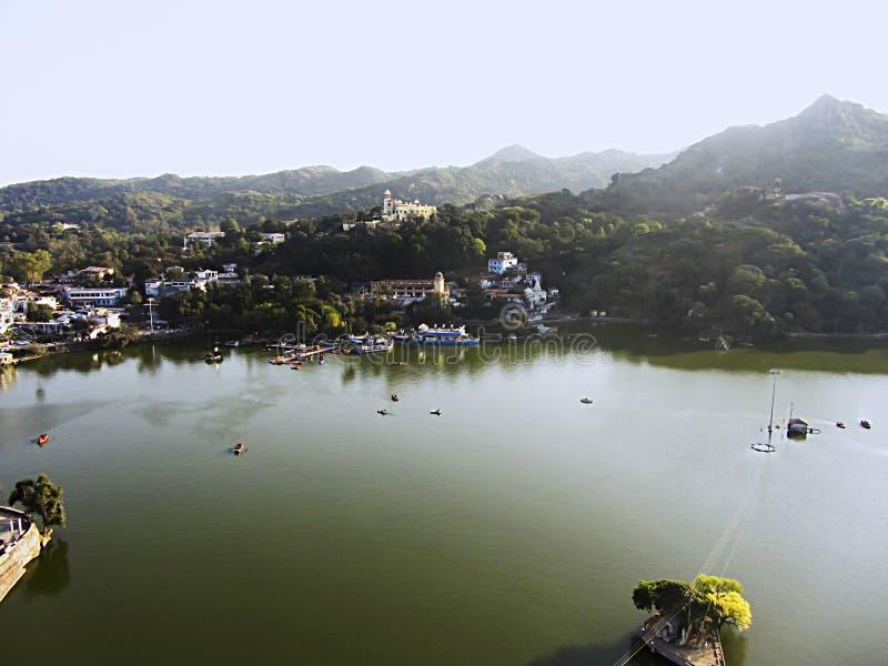 Visión aérea, lago Nakki, soporte Abu, Rajasthán imagen de archivo libre de regalías