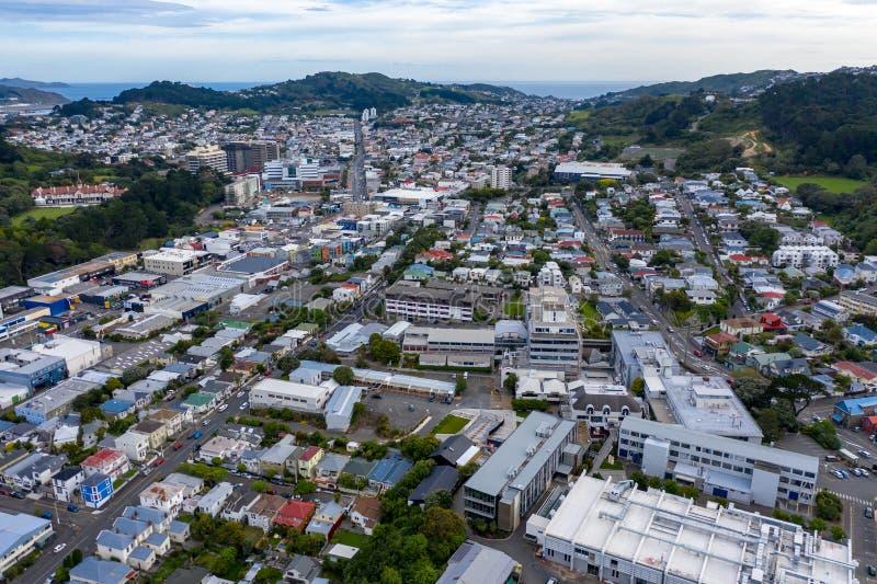 Visión aérea, nueva vecindad de la ciudad, Wellington NZ fotografía de archivo libre de regalías