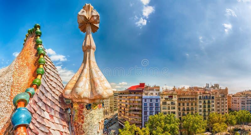 Visión aérea panorámica desde la casa Batllo, Barcelona, Cataluña, SP fotografía de archivo