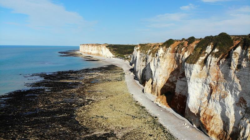 Visión aérea, playa de Normandía, Francia fotos de archivo libres de regalías