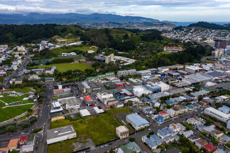 Visión aérea, reserva y nuevos hogares de la ciudad, Wellington NZ del lavabo imagen de archivo libre de regalías
