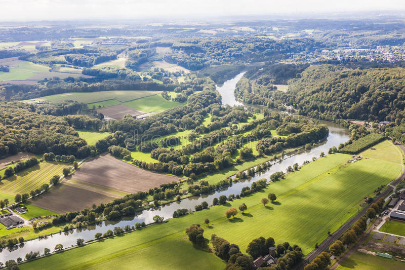 Visión aérea Ruhr Aeria, Alemania fotos de archivo libres de regalías
