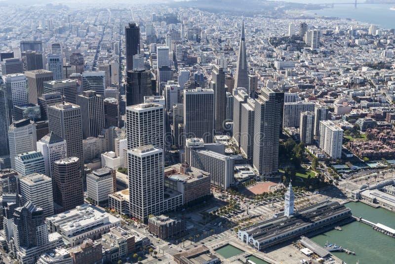 Visión aérea San Francisco Downtown Towers fotografía de archivo libre de regalías