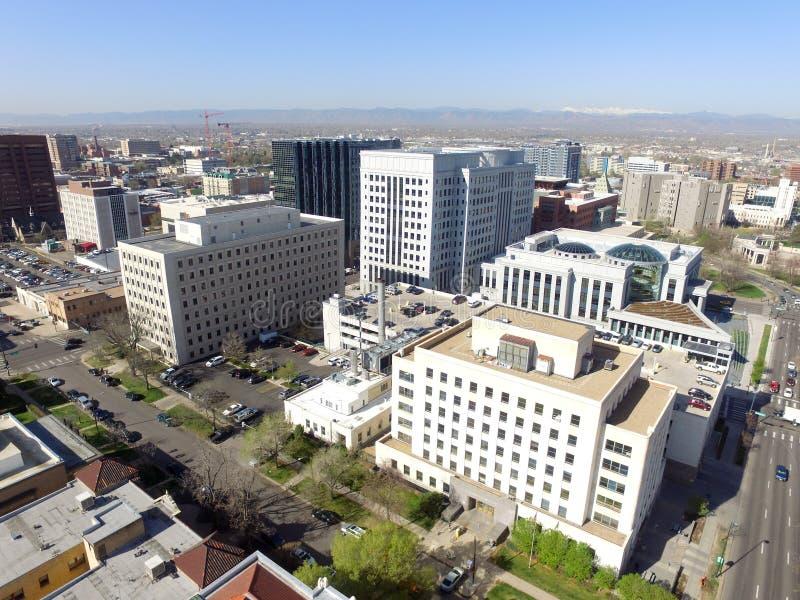 Visión aérea sobre Denver Colorado céntrico fotos de archivo