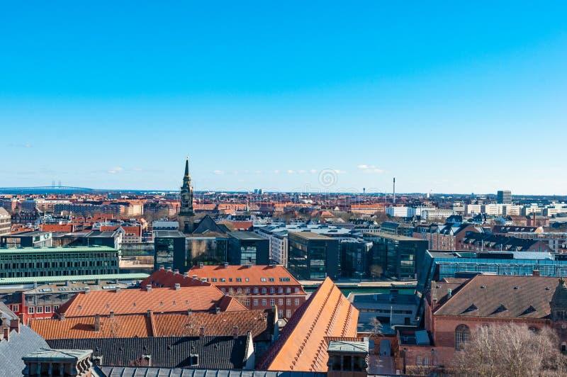 Visión aérea sobre la ciudad de Copenhague imagen de archivo