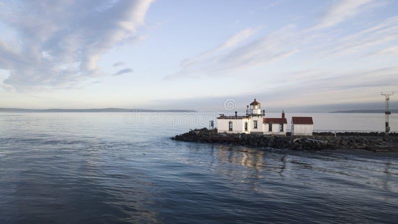 Visi?n a?rea West Point Lighhouse Puget Sound Seattle Washington foto de archivo
