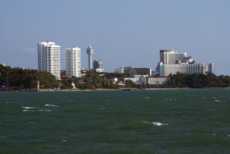 Visión al aire libre en la playa o la playa de la ciudad de Pattaya en Tailandia, Asia imagen de archivo