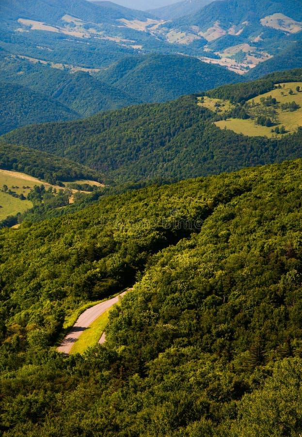 Visión al este de las montañas y de los valles del botón Spruce, WV imagenes de archivo