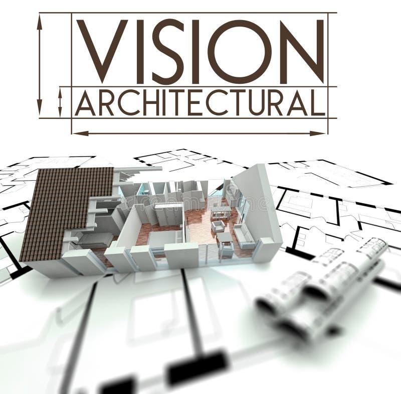 Visión arquitectónica con el proyecto de la casa en modelos ilustración del vector