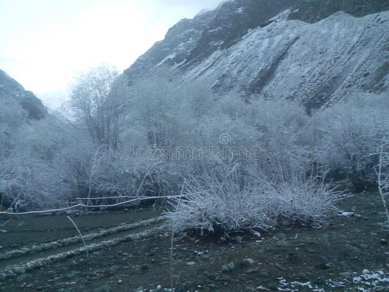 Visión de la nieve en la estación de la nieve del acabamiento fotos de archivo