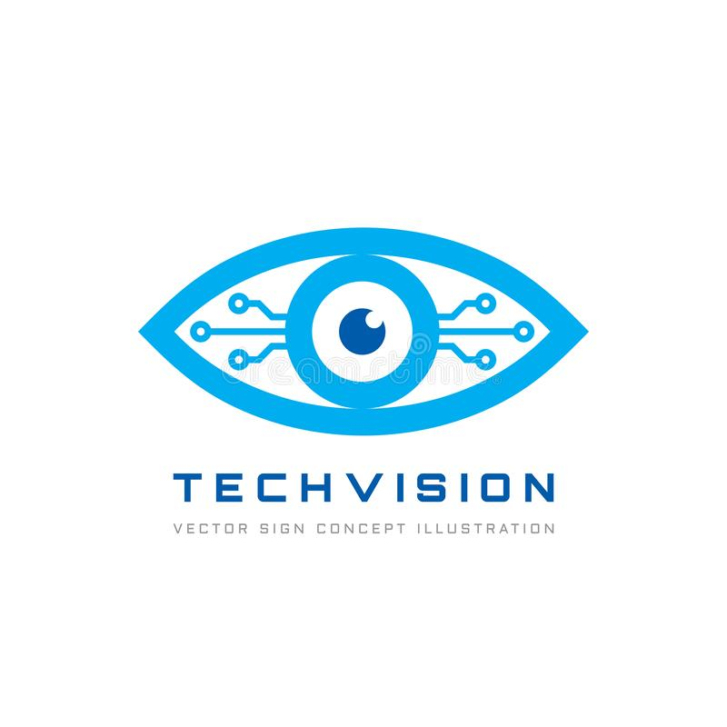 Visión de la tecnología - vector el ejemplo del concepto de la plantilla del logotipo Muestra creativa abstracta del ojo humano T ilustración del vector
