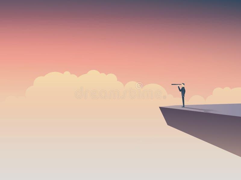 Visión del negocio o concepto del visionario con el hombre de negocios que se coloca en un acantilado, mirando a través del monóc stock de ilustración