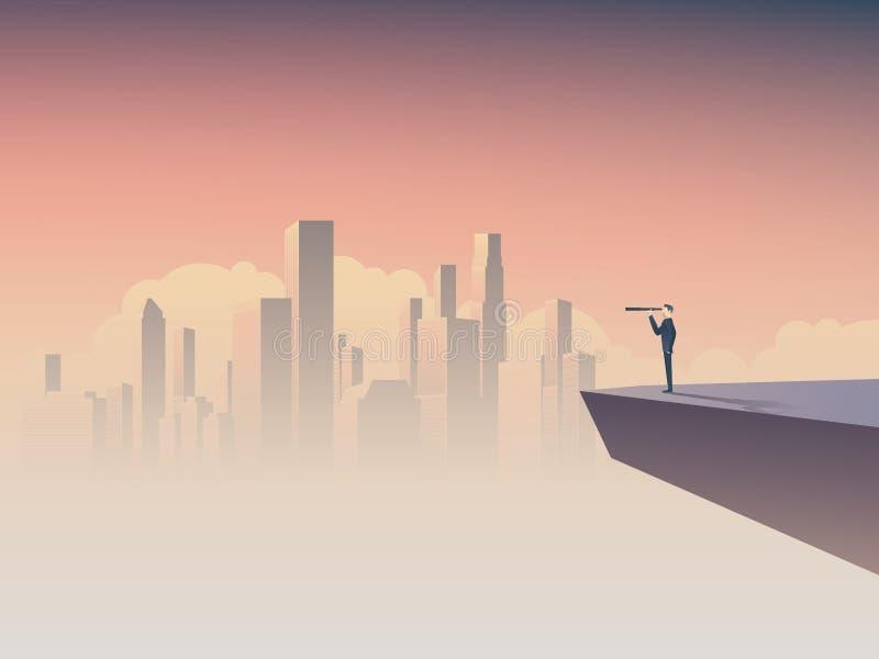 Visión del negocio o concepto del visionario con el hombre de negocios que se coloca en un acantilado, mirando a través del monóc libre illustration