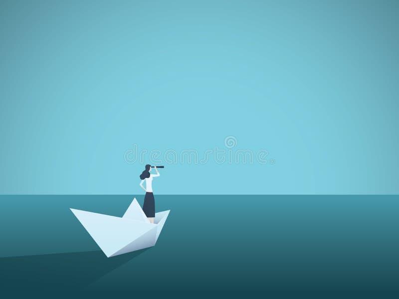 Visión del negocio o concepto del vector del visionario con la empresaria en el barco de papel con el telescopio Símbolo del líde ilustración del vector