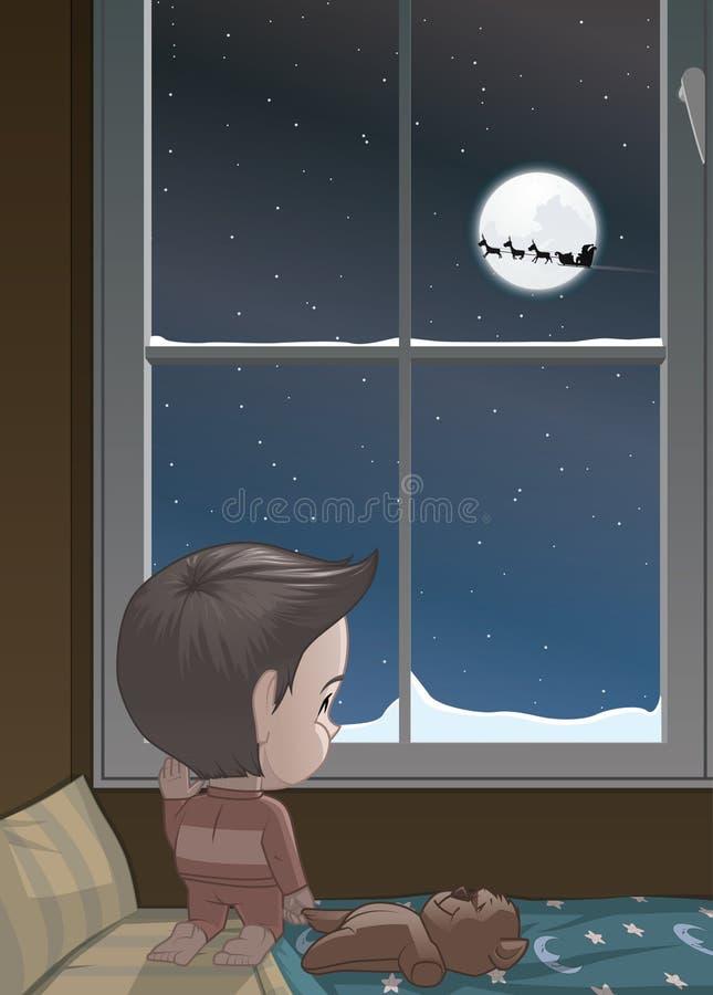 Visión del niño por las ventanas el trineo de Papá Noel libre illustration