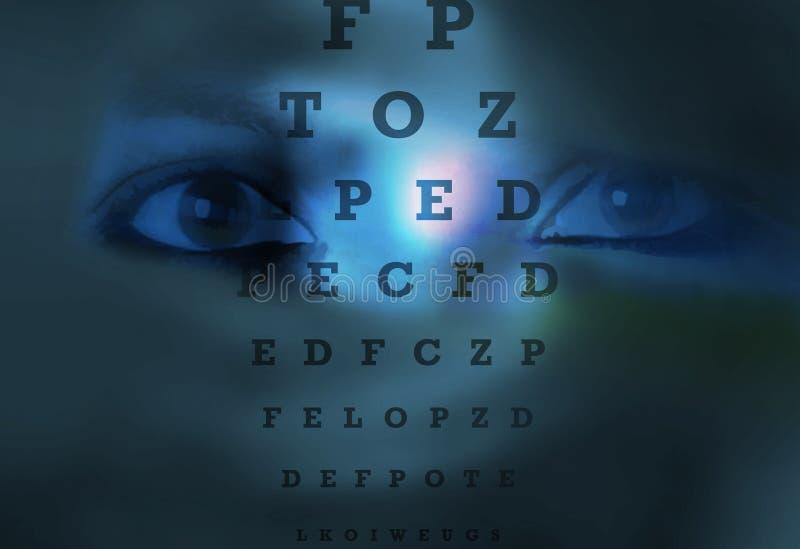 Visión del ojo de la prueba de la carta de ojo ilustración del vector