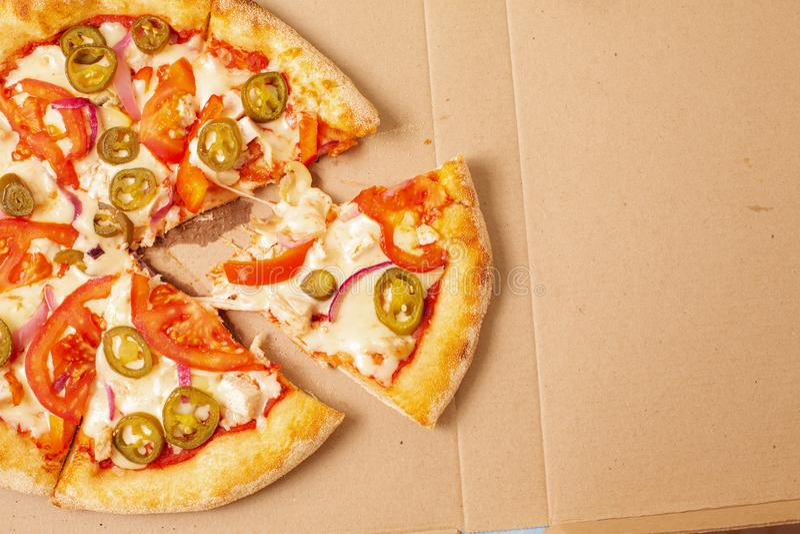 Visión desde arriba Entrega de la pizza Menú de la pizza imagen de archivo libre de regalías